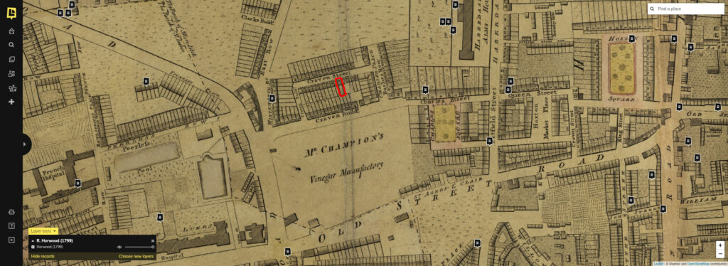 Map of Craven St in 1799, with Number 12 marked in red.